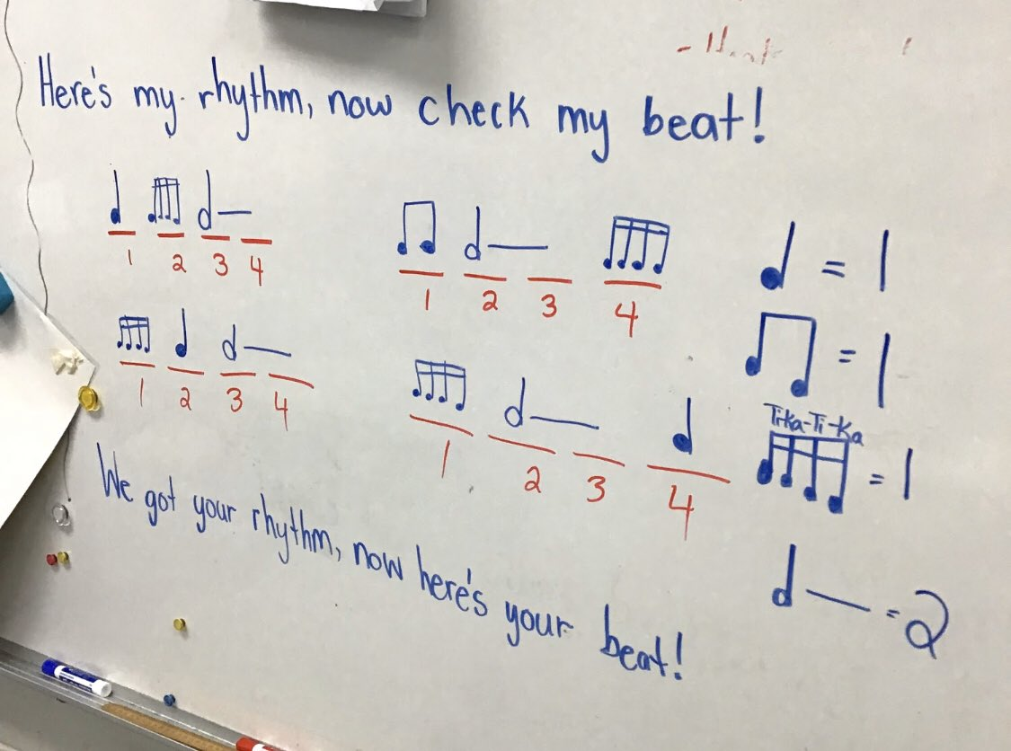 """Today in grade 2/3, we learned a new rhythm called """"tika tika!"""" It was so much fun! @LincolnAlexPS #musiceducation #musiceducationmatterspic.twitter.com/G5YTyjJBUY"""