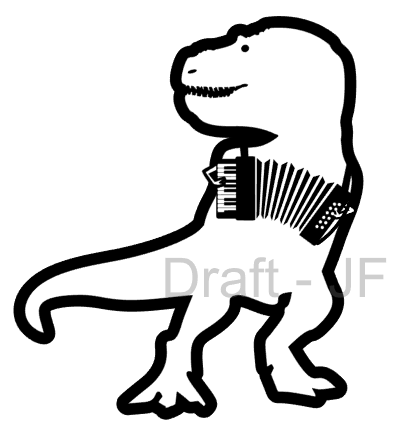 Silhouette design of a T rex playing the accordion. It's not real though - dinosaurs are extinct. Except birds.