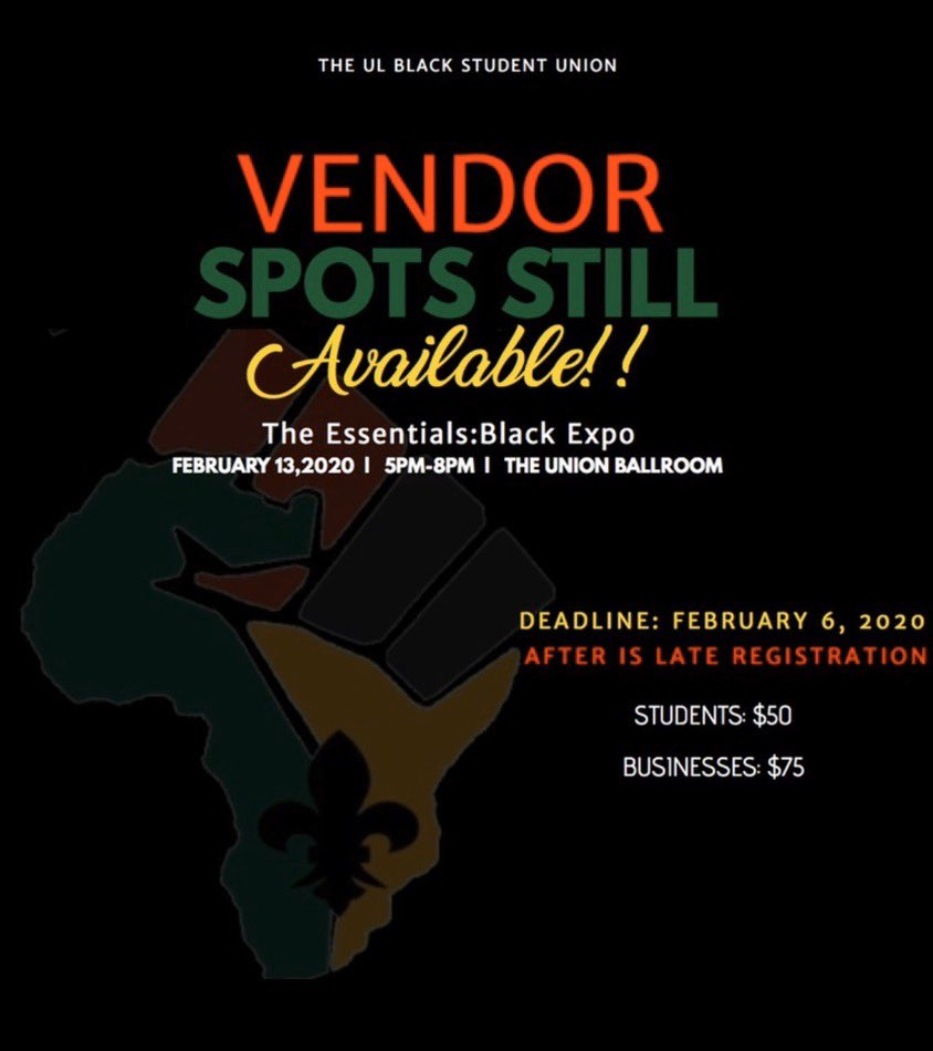YOU still have time to be showcased at The UL BSU's Black Expo! Join us in celebration of Black History Month as we showcase prominent Black businesses.   SIGN UP HERE: (the link is also in our bio) https://www.eventbrite.com/e/the-essentials-black-expo-for-business-music-and-art-tickets-82032404129?ref=eios …  #ulbsu2020pic.twitter.com/aFtMTqUEUk