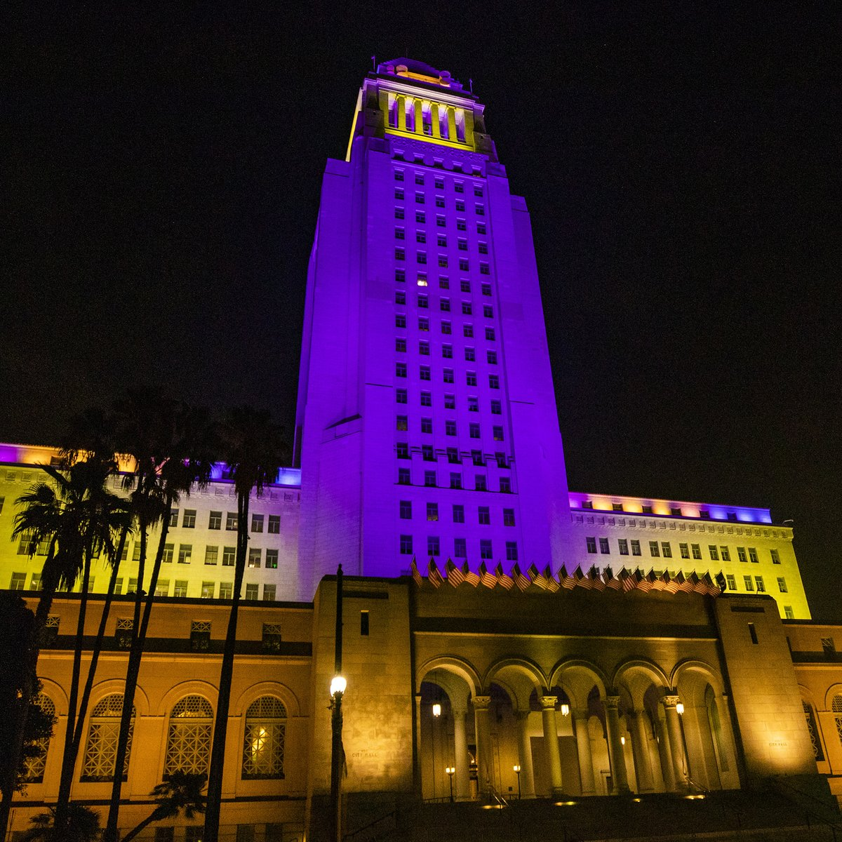 City Hall and the LAX pylons will stay illuminated in purple and gold for the rest of the week. Rest in power.