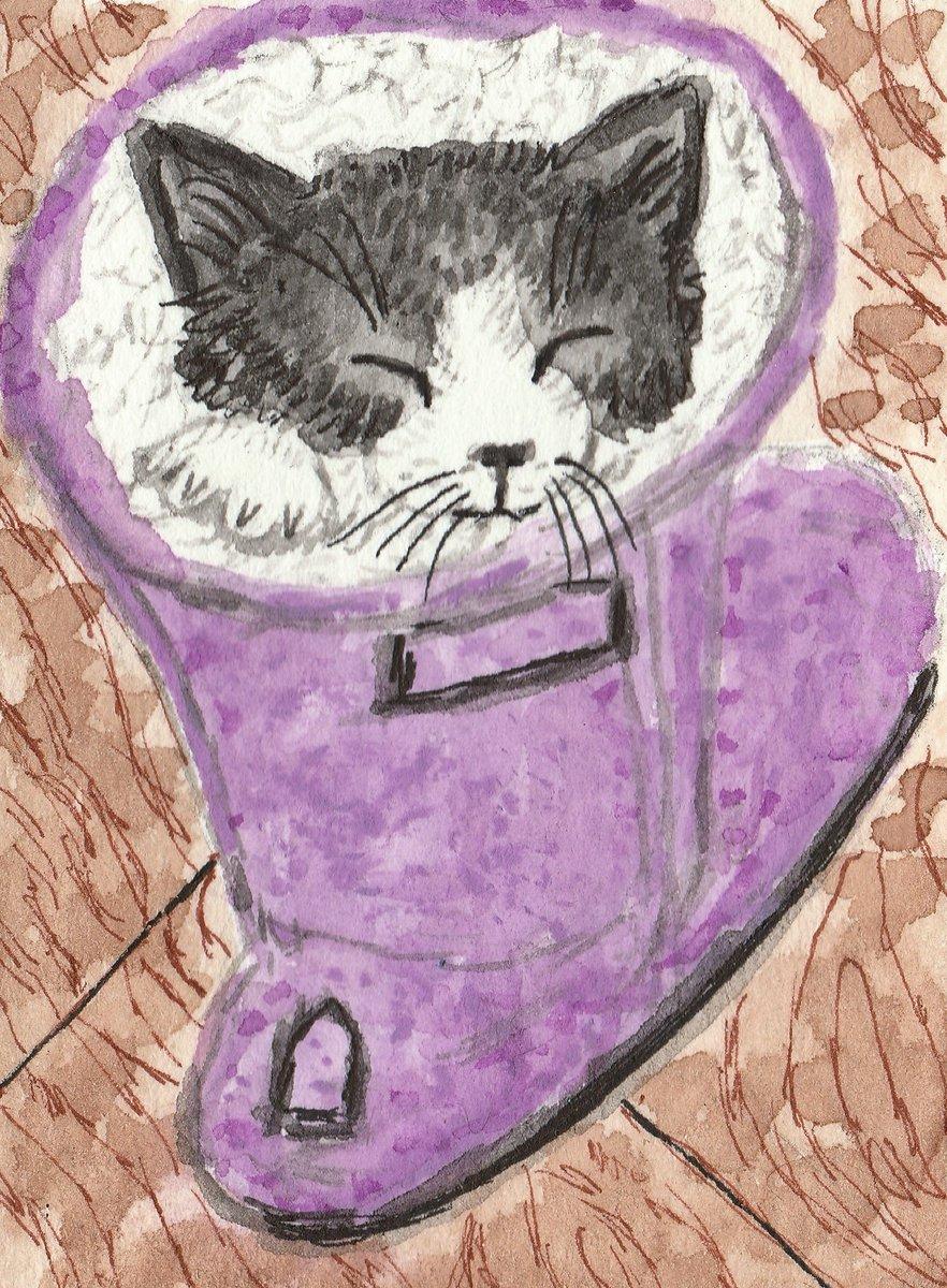 #cute #pet #Watercolor  #original #Artwork #Gift #Small      #animal  #Adorable #Handmade #cat #aceo