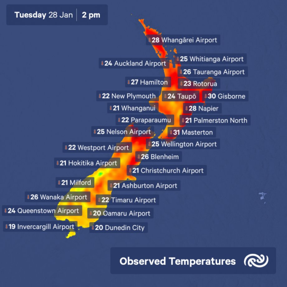 Current hot spot is Rai Valley between Nelson and Blenheim at 32C, but there are plenty of high temperatures around the country. ^AJ https://t.co/zk9Fwqeqaq