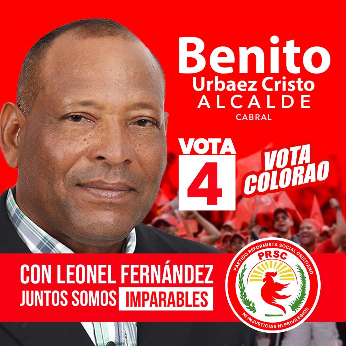 El renovado @partidoprsc y su presidente @quiqueantun junto al candidato presidencial @leonelfernandez y todos los aliados presentan al candidato a la alcaldía de Cabral, Benito Urbaez Cristo ¡VOTA COLORAO! ¡A paso de vencedores! #JuntosSomosImparables #BastaYa #Vota4pic.twitter.com/pjY8qv1kOK