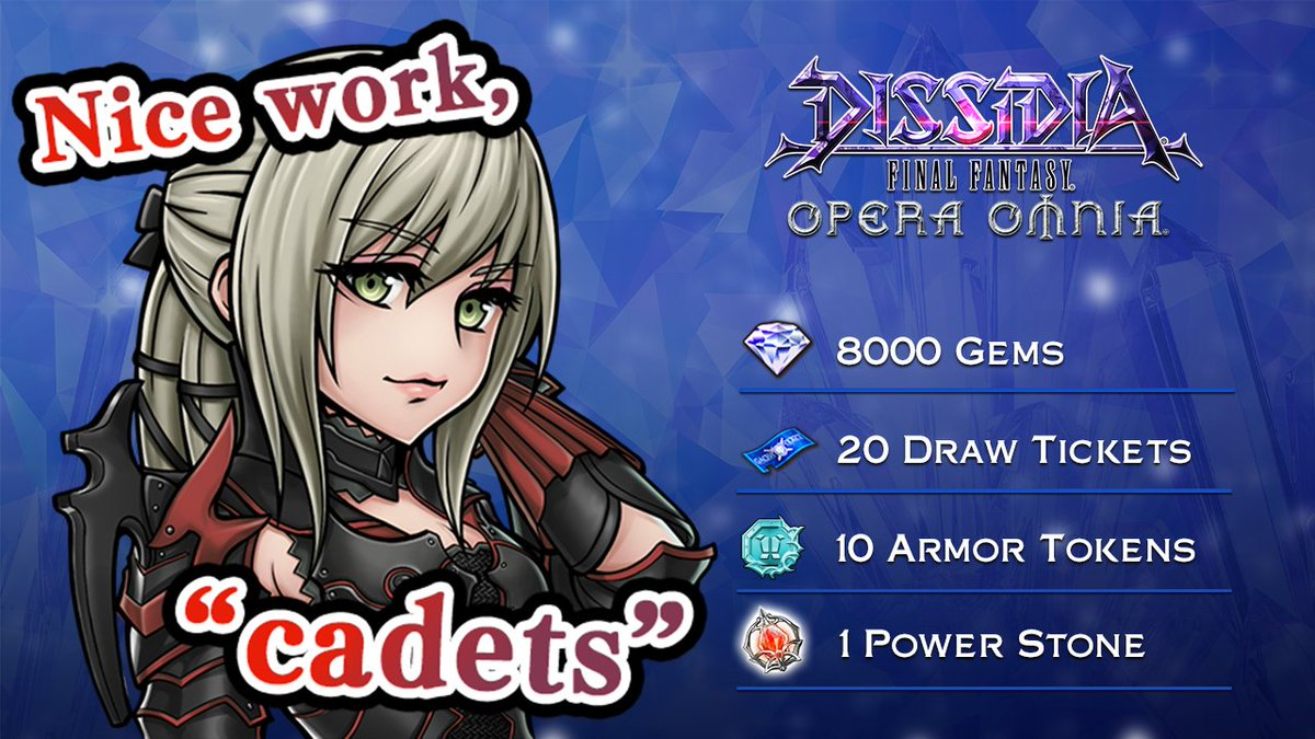 Congratulations on completing the stream challenge! Everyone will receive:  ・Gems x8000 ・Draw Tickets x20 ・Armor Tokens x10 ・Power Stone x1  The rewards will be sent out soon!   If you missed the livestream, you can watch it here  [ http:// sqex.to/HlHAB    ]  #DissidiaFFOO<br>http://pic.twitter.com/kSi2G29R16