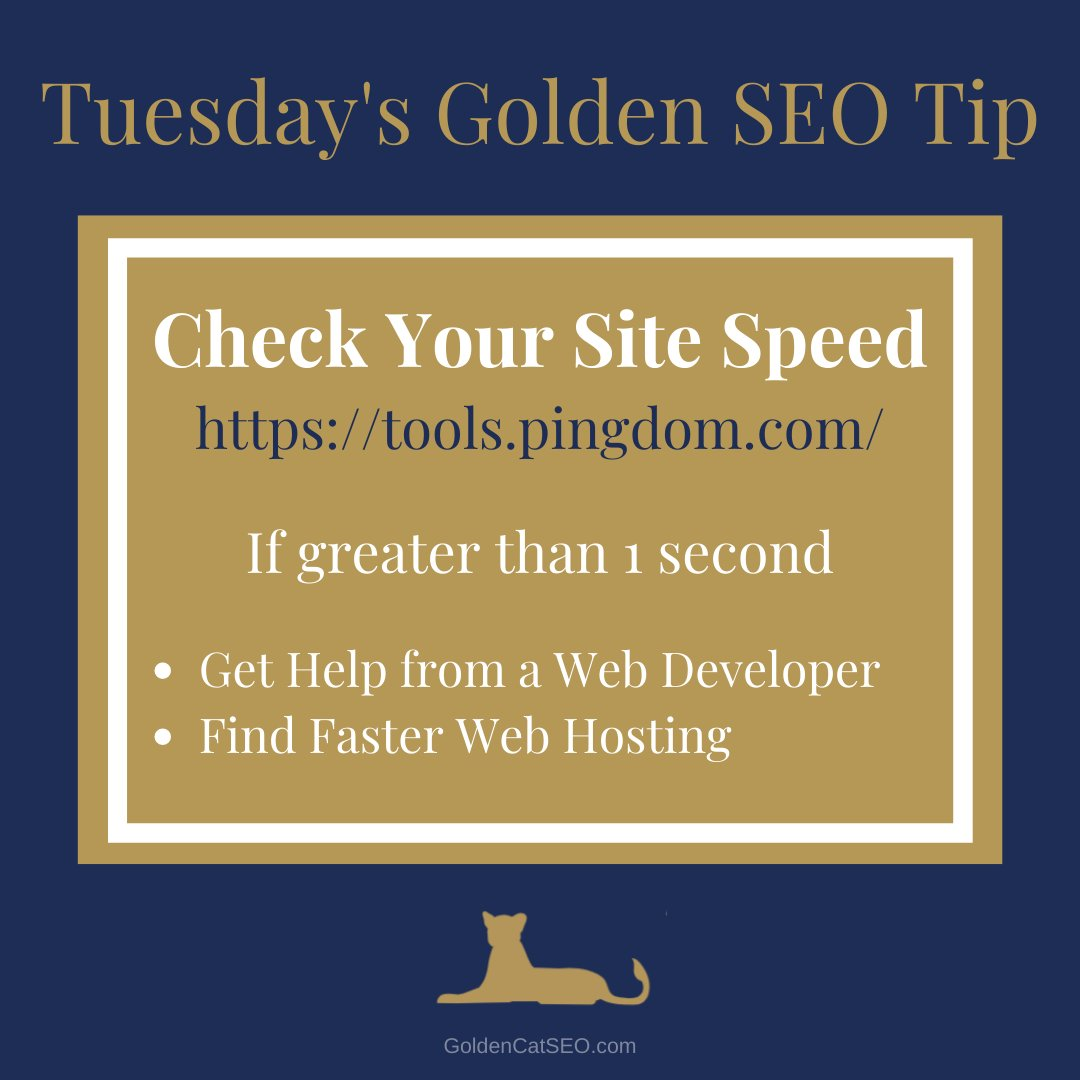 Tuesday's Golden SEO Tip   Check your site speed ... if it's greater than 1 second there is room for improvement  #goldencatSEO #SEOtips #goldenSEOtip #SEOtips2020 #tipsforlocalSEO #searchenginetipspic.twitter.com/Xoub0qcycd