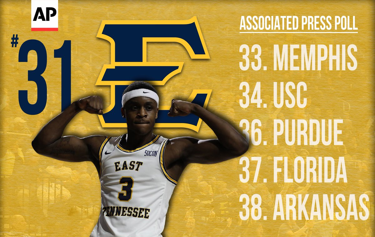 With the new @AP_Top25 being released today, take a look at who the Bucs are ranked ahead of nationally; Catch the Blue and Gold in action Wednesday night vs. Mercer at 7p inside Freedom Hall! #ETSUTough<br>http://pic.twitter.com/dxe4A6TR0S