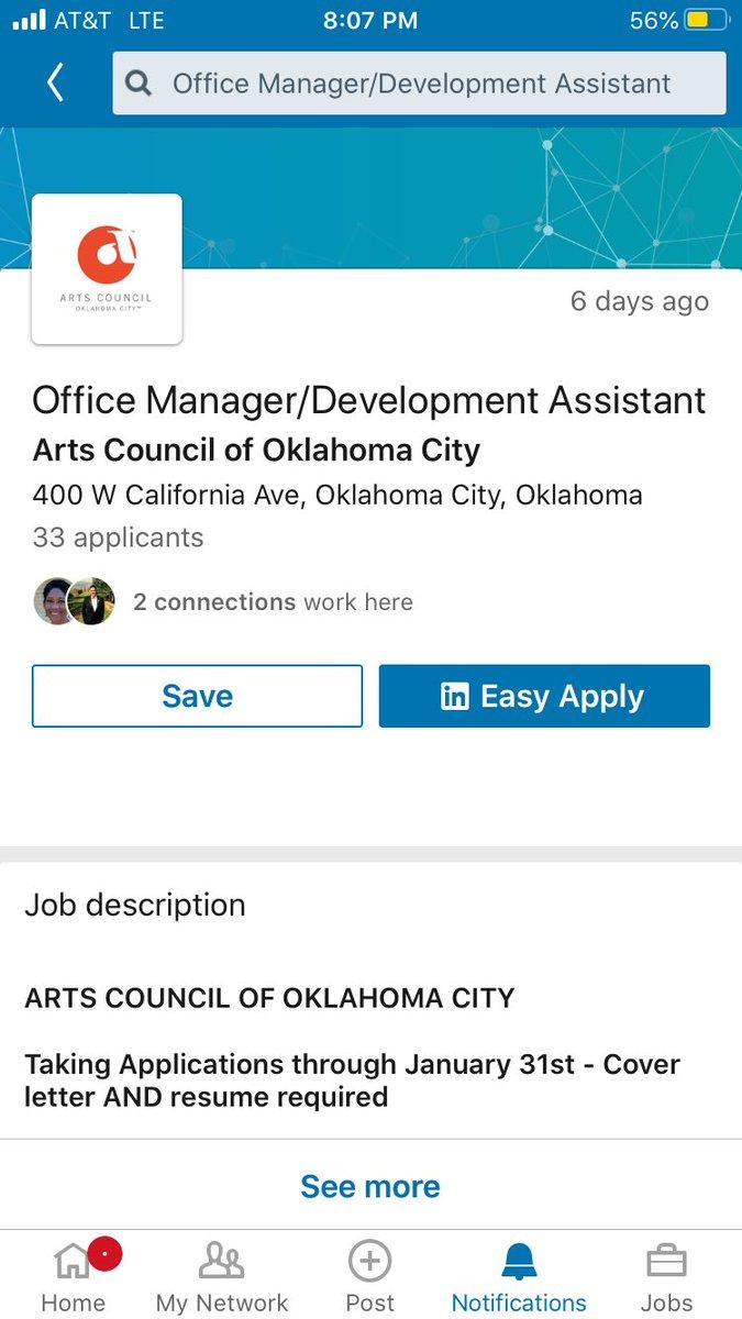 #hiring #OklahomaCity #Arts Council #work #employment @OUDaily @SHRM @OUArtsSciences