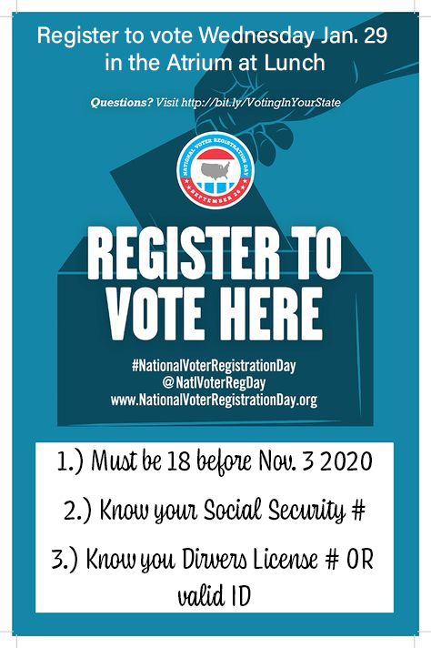 If you will be 18 before Nov. 3 2020, make sure you register to vote this Wednesday in the atrium at lunch!! All you need is your Social Security # and Drivers License #! Or you can fill out a hardcopy registration before Jan. 30! @SV_Vikings @JTemoney https://t.co/eo66xsN3lx