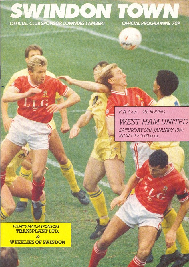 On this day in 1989, Swindon play West Ham in an FA Cup 4th Round tie at the County Ground in front of 18,627, with an away following of 5,355. Fraser Digby produces save after save as Swindon hold on to take the tie to a replay with a 0-0 draw (4/4)