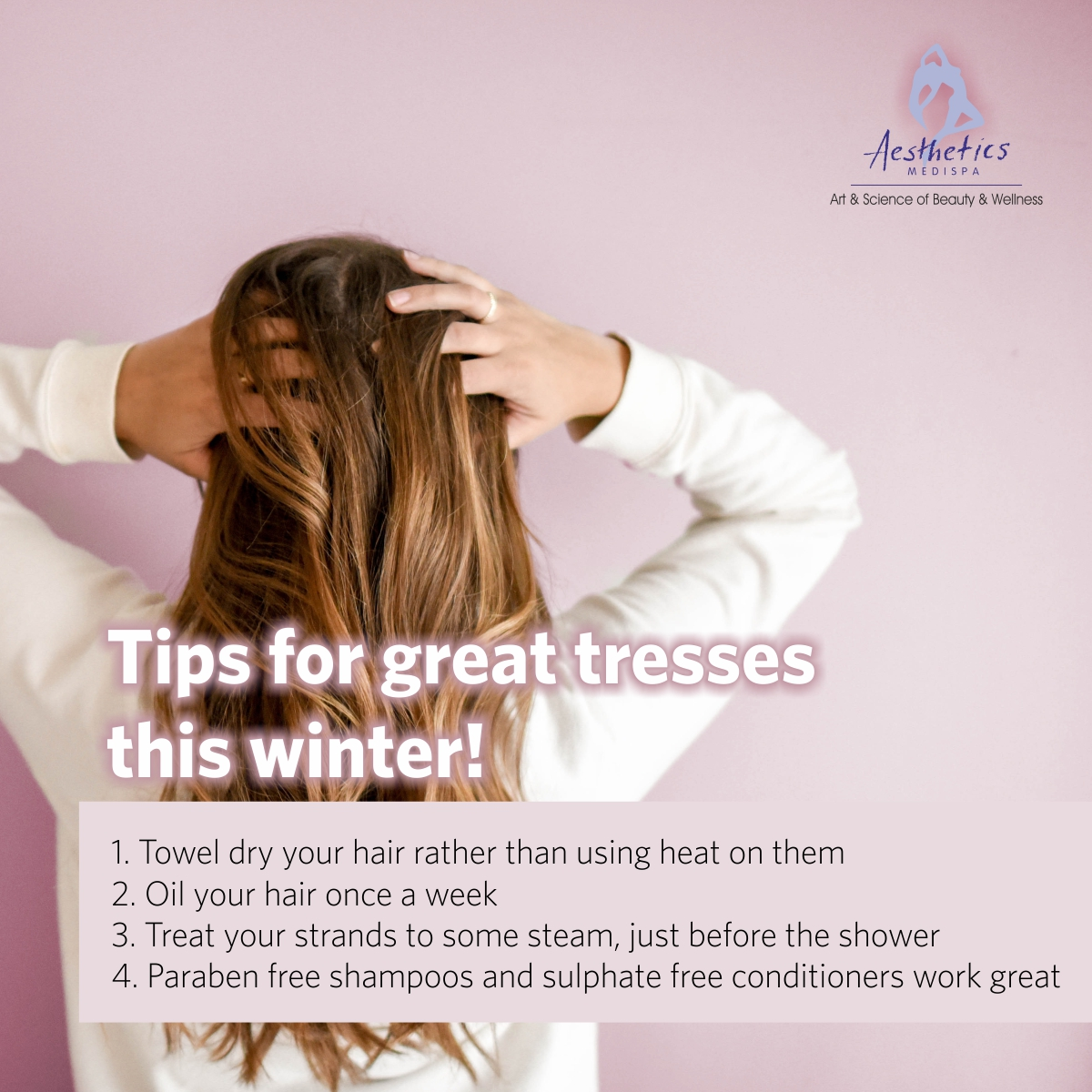 Aesthetics Medispa tips for great tresses this winter! . . . #AestheticsMedispa #haircare #hairtips #wintercaretips #wintercarehair #greathair #haelthcaretips #wintertress #tips #hairloss #hairtreatments #greathairs #followhaircare #Punepic.twitter.com/pa6qrOBTCO