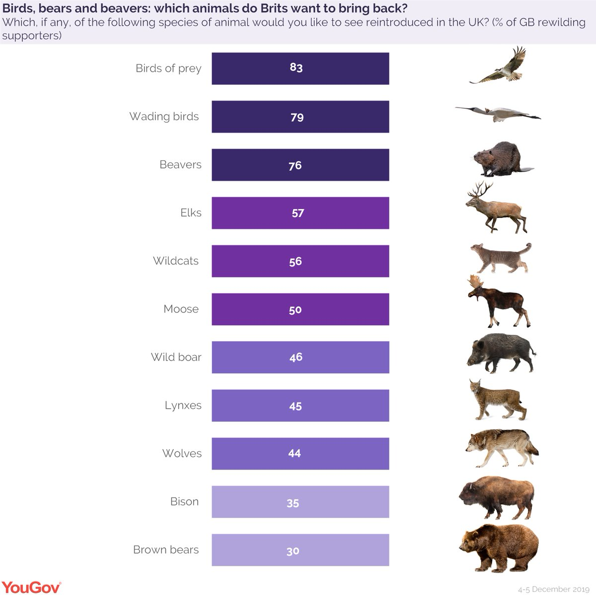 82% of Brits want extinct species to be returned to the UK.  Support for the following animals to be reintroduced:  Birds of prey 83% Wading birds 79% Beavers 76% Elks 57% Wildcats 56% Moose 50% Wild boar 46% Lynxes 45% Wolves 44% Bison 35% Brown bears 30%