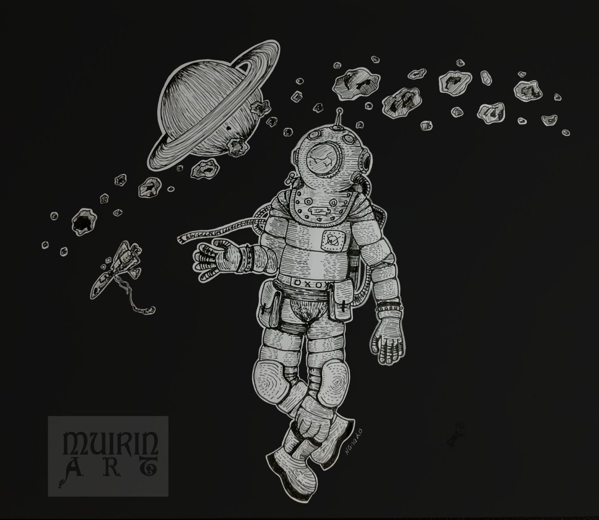 """""""Spaceman - Last journey"""" Pigma Microns on paper, background colored digitally with ArtFlow. #art #comicart #drawingoftheday #ink #spaceman #space #astronautpic.twitter.com/h9vRTPh6IX"""