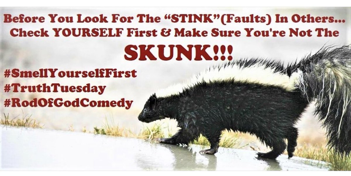 """TRUTH TUESDAY: Before You Look For The """"STINK""""(Faults) In Others…Check YOURSELF First & Make Sure You're Not The SKUNK!!! PS: Check out Matthew 7:5! #SmellYourselfFirst #TruthTuesday #RodOfGodComedypic.twitter.com/Xhb1nEpPhT"""