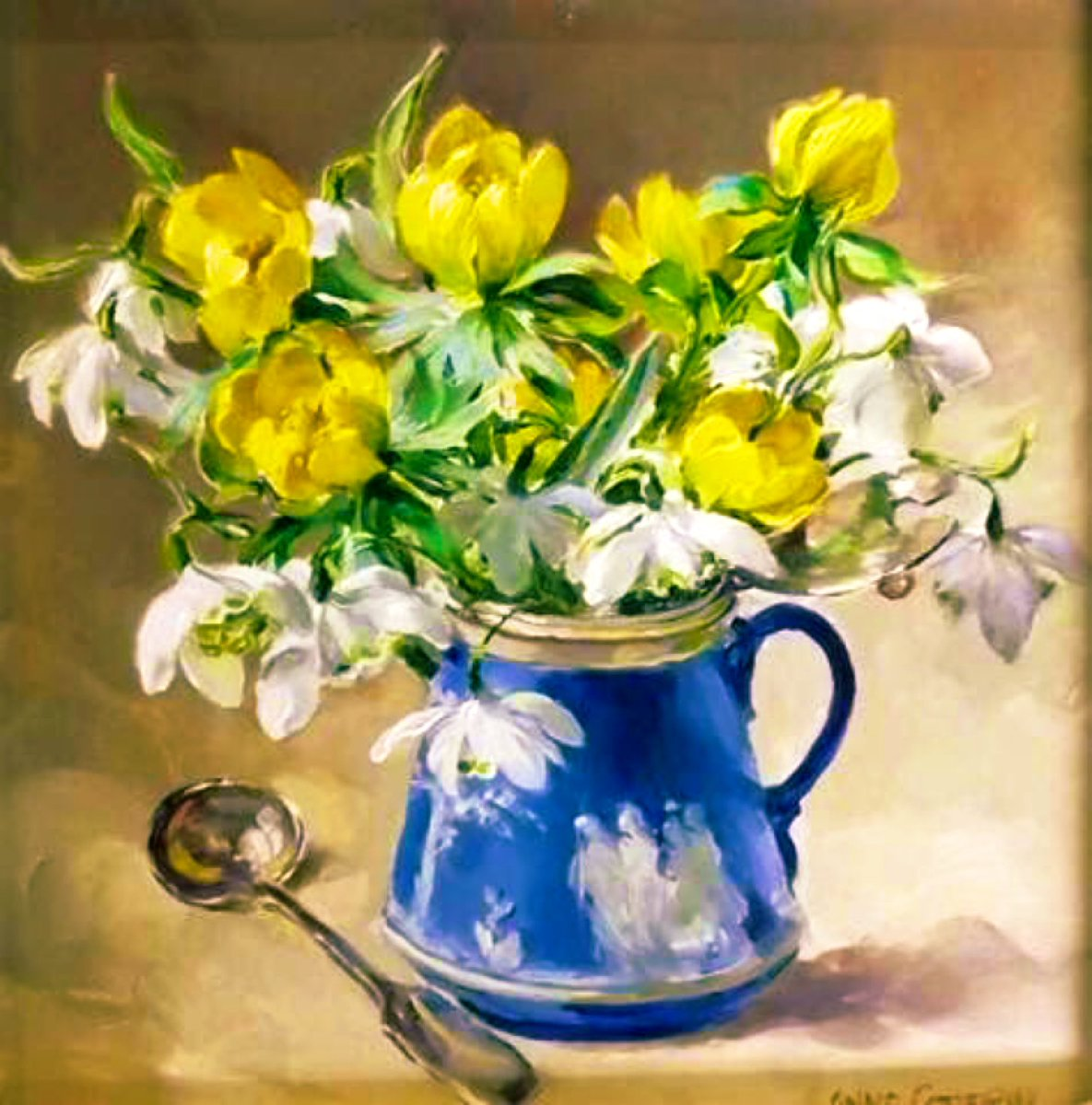 Snowdrops & Celandines~Anne Cotterill #London  #artistic  #artists  #arts  #iloveart  #ArtStationHQ  #FineArtAmerica  #artvsartist  #artgallery  #artstream  #twitart  #artexhibition  #artstudio  #ArtofLegends  #ArtistOnTwitter  #artsy  #USA  #ArtLovers  #painting