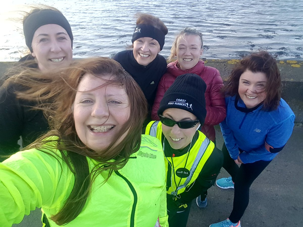 Wow wind swept women challenging 4th week @Coastrunners but feeling great! Thanks Katharine for keeping us going!! @CoastRdRunners #Running @loveclontarf_ie Missed my running buddy @mairinmurray is going this evening!!