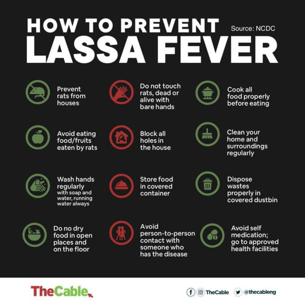 As the appropriate agencies work hard to curb #LassaFever, here are some infographics on how to forestall the spread.  Take all the necessary measures to prevent yourself and loved ones from #LassaFever.<br>http://pic.twitter.com/dvfeJbNvQA