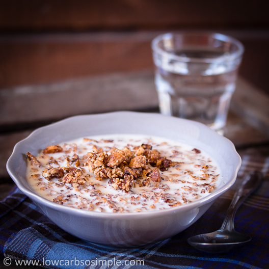 This simple baked granola makes a great breakfast!  #keto #ketorecipe #healthy #lowcarb #wholefoods #ketogenic #ketodiet #lchf #lowcarbsosimple #lowcarbliving #lowcarbrecipes #easylowcarb #lowcarb #lowcarbdiet #lowcarblifestyle #ketogeeninenruokavalio