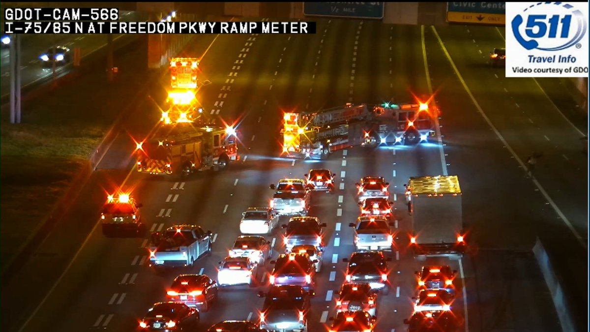 Holding lanes to clear wreck: I-75/85 Nb at Freedom Pkwy  #MorningRushATL <br>http://pic.twitter.com/pTvsh3Cscj