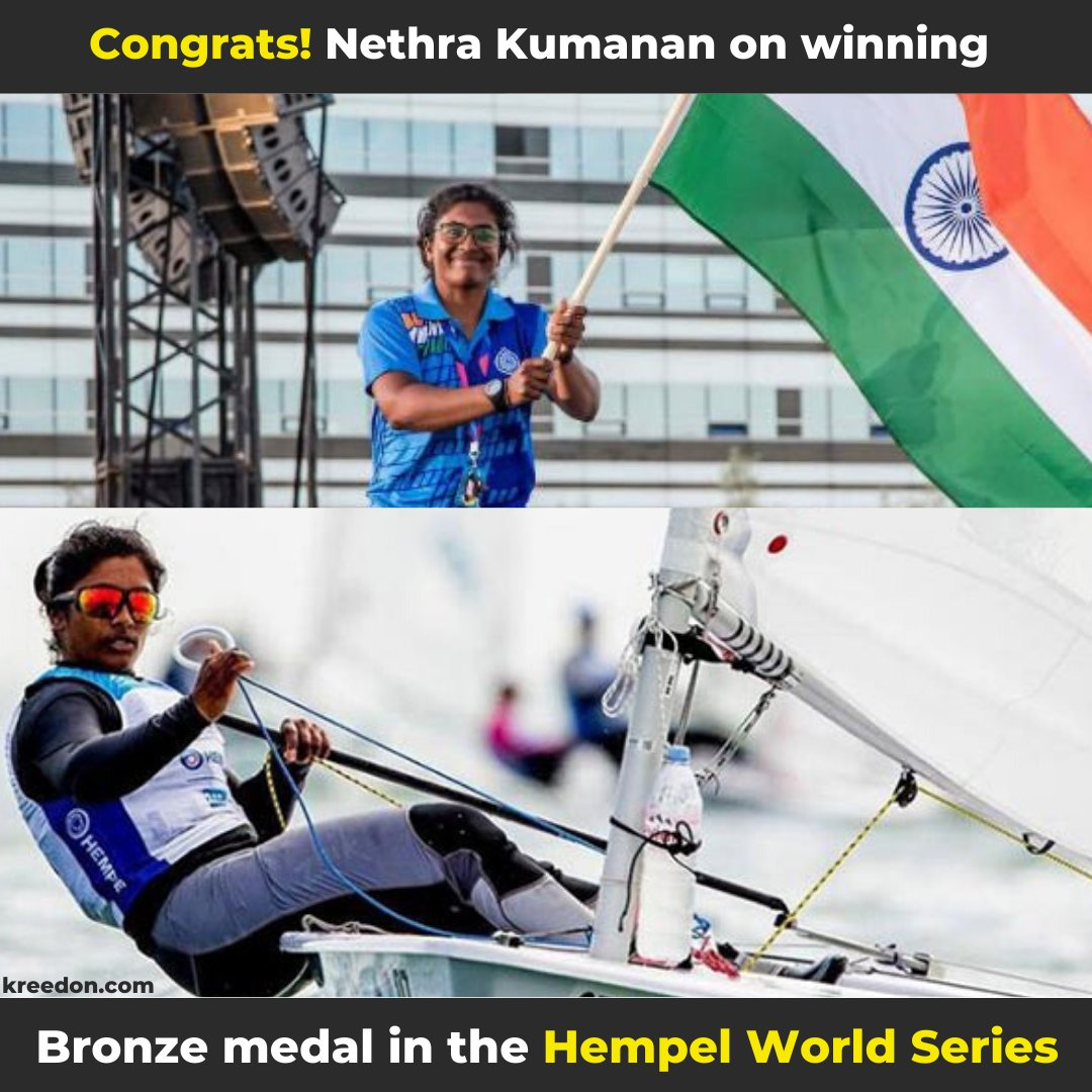 India's Nethra Kumanan won the Bronze medal in the #HempelWorldSeries, Miami  Also, she became the 1st Indian Woman Sailor to win a medal at a Sailing World Cup #KreedOn #NethraKumanan #sailors #womenempowerment #womanpower pic.twitter.com/V5VjC6qpFa
