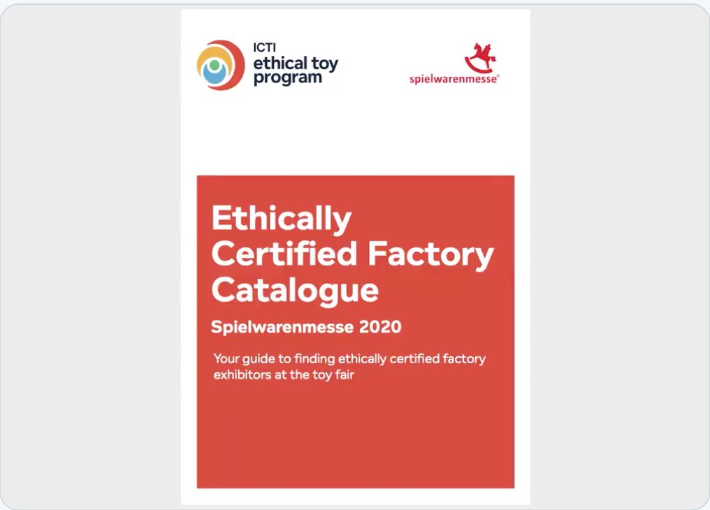 Looking for suppliers to work with at Spielwarenmesse?   Download our free catalogue featuring suppliers at the fair and in our program who are aligned with international ethical manufacturing standards – enabling you to source with confidence @IntToyFair  https://www.ethicaltoyprogram.org/en/certified-suppliers-at-the-2020-toy-fairs/…pic.twitter.com/zDhxPbgRKd