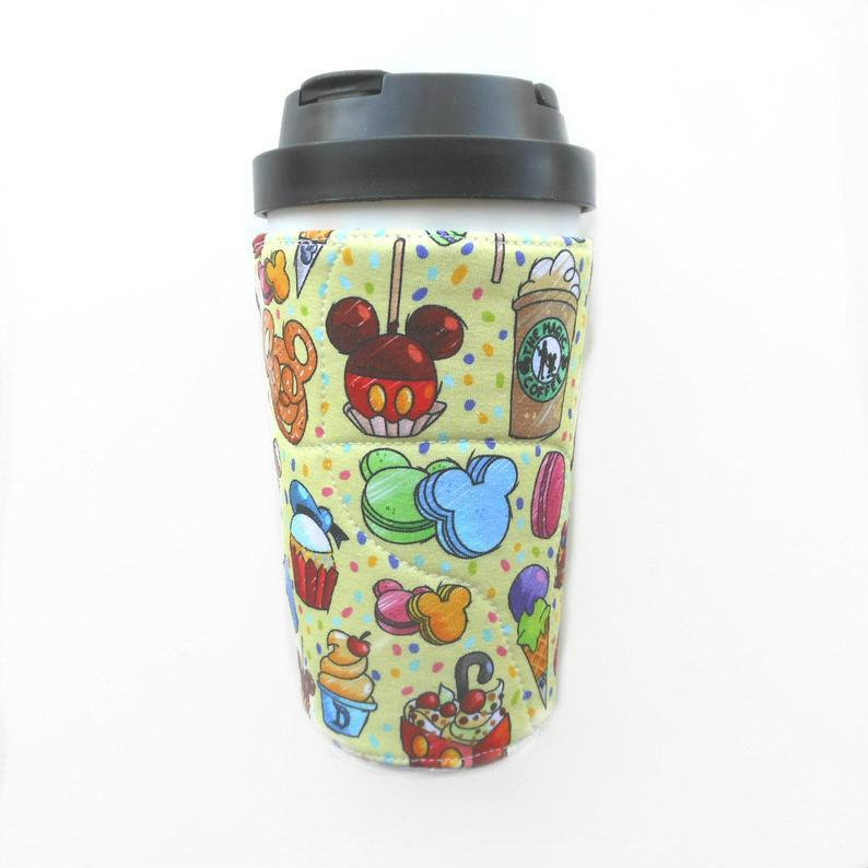 Disney Snacks Coffee sleeve #disneyparks #mickeymouse #magickingdom #hollywoodstudios #epcot  #etsymntt #etsysocial #coffee Mickey Pretzel