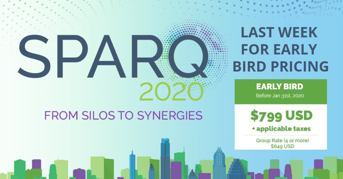 Early Bird Pricing for SPARQ ends this Friday! Don't miss out on this great price, for an incredible event. Register here: http://ow.ly/kUlM50y7f2kpic.twitter.com/g9NFrzgG7n