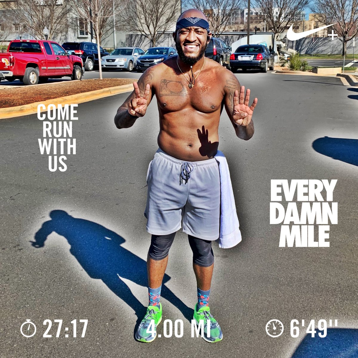 4.00 miles in 27.17 Mins 6.49 Pace #fitness #finishstrong #cardio #cardioday #nike #nikerunning #nikerunningclub #justdoit #gettingbettereveryday #nikerunning #FitDjs #4Miler #MambaMentality
