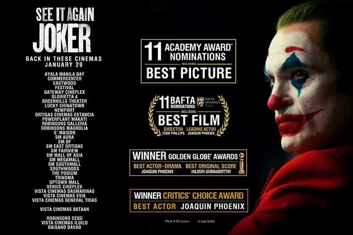 #JokerMovie is BACK IN THE CINEMAS starting TOMORROW after numerous award wins and nominations! SEE IT AGAIN in these cinemas!   #GoldenGlobes #CriticsChoiceAwards #SAGawards #AcademyAwards #BAFTApic.twitter.com/qHScuY5k26