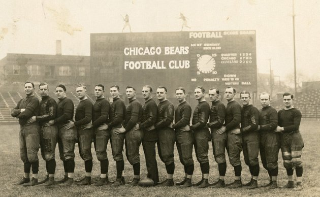 #OTD in 1922, the #Chicago Staleys after moving from Decatur and winning the 1921 #NFL Title, become the @ChicagoBears. The name based on George Halas idea that football #Bears should be bigger than baseball @Cubs. Halas pictured 5th from the right. #BearDown @dabears #Bears100
