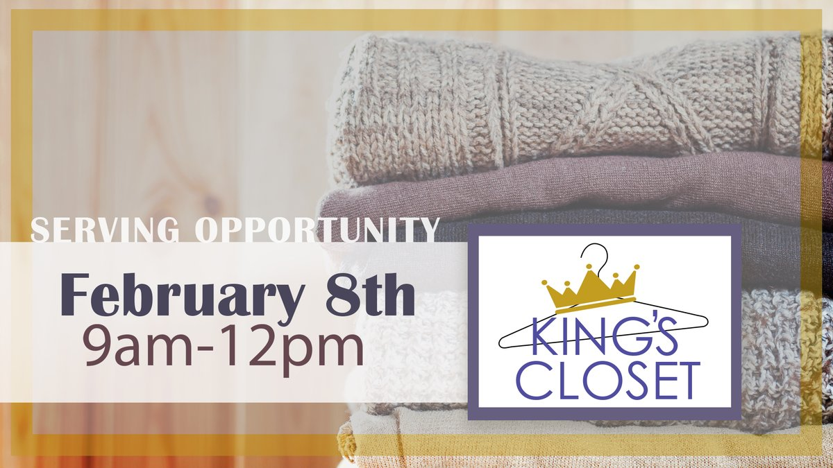 Another great serving opportunity we have here at Firewheel is at King's closet, the clothing ministry of SOUL Church. Come sort clothes for those in need every second Saturday of the month from 9am-12pm.pic.twitter.com/gm8wM8OWqA