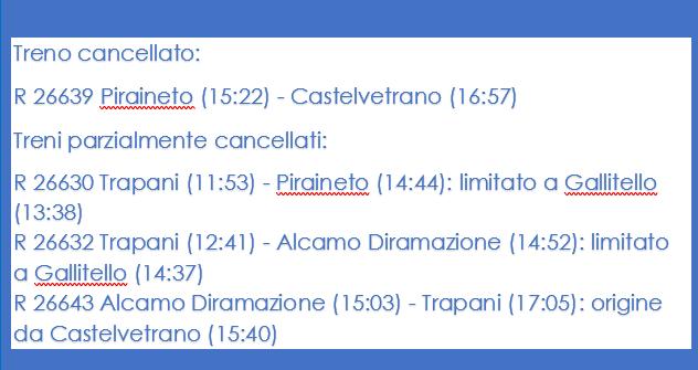 🚅[AGG] #treni   linea Palermo – Trapani circolazione riattivata tra Alcamo e Gallitello.  ▶Limitazioni di percorso per 3 treni regionali, mentre 1 treno regionale è stato cancellato.  #luceverde #Sicilia
