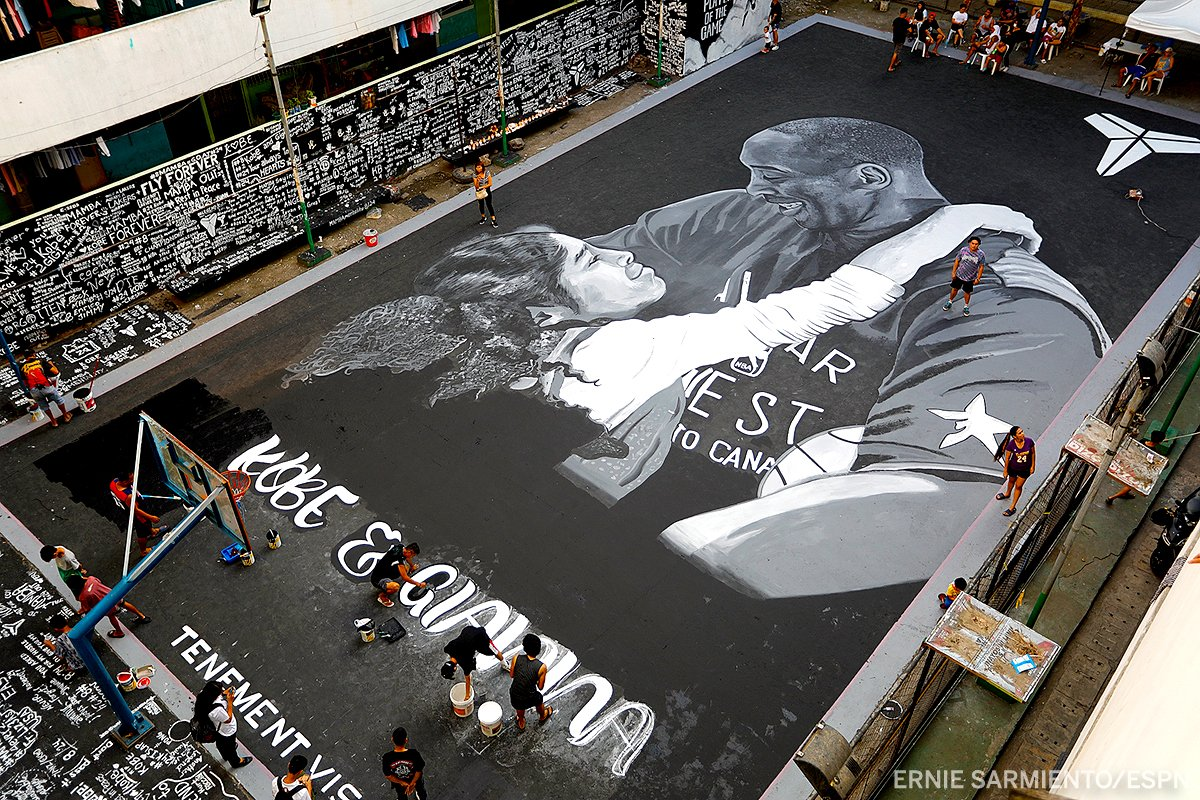 The Philippines pay tribute to Kobe and Gianna Bryant with this incredible basketball court mural.