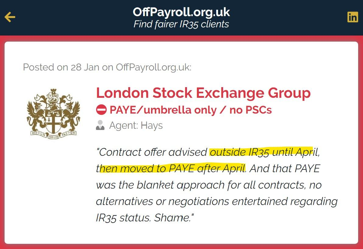 That's a massive red flag 🚩: a new contract that's outside #IR35 until April, then moving to PAYE. Avoid London Stock Exchange Group (LSEG).