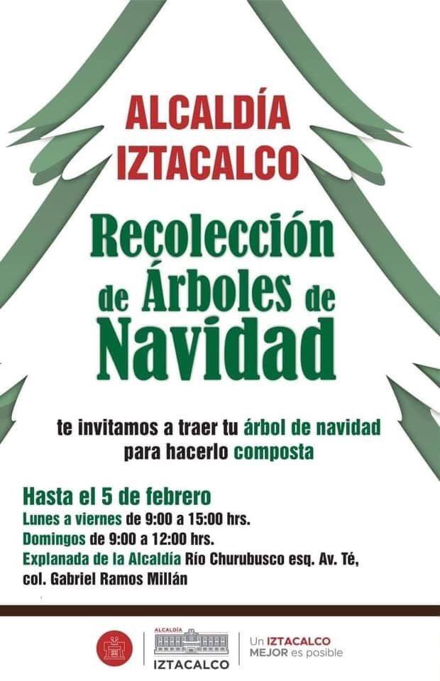 """No tires  tu arbolito de Navidad en la vía pública La Alcaldía de #Iztacalco te invita a traer tu #ÁrbolDeNavidad para que mediante el Programa """"Árbol por Árbol, tu Ciudad Reverdece""""  sea reciclado y se utilice como composta para parques y jardines de la  Ciudad de México. pic.twitter.com/W0y1eDS2tN"""