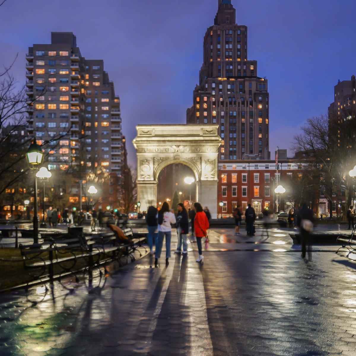 Washington Square Park blue hour. Greenwich Village
