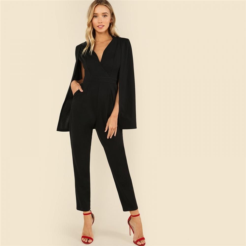 #skirt #nature Women's Black Elegant Cloak Sleeve Jumpsuit