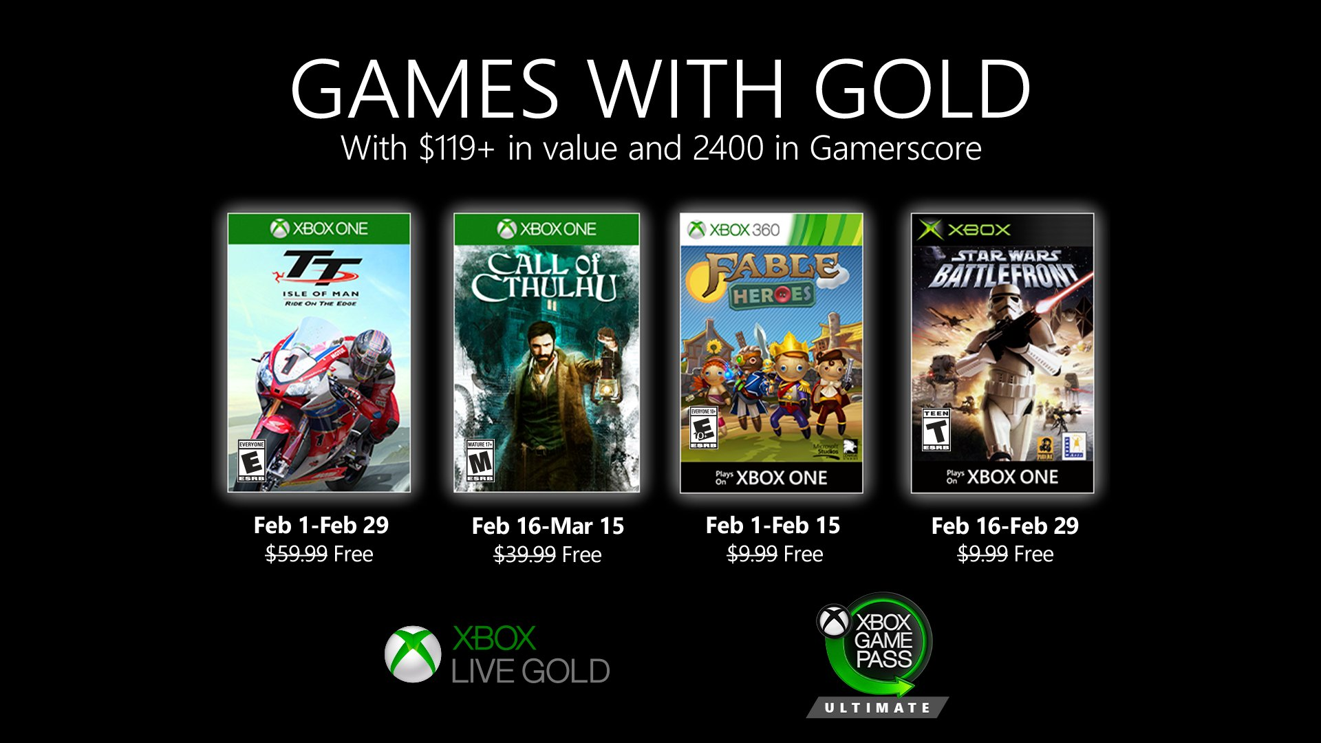 Xbox Live Games with Gold February 2020