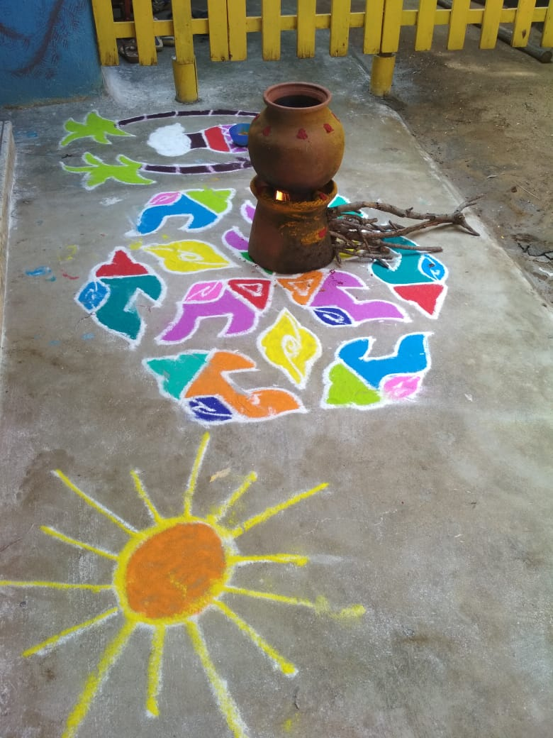 Celebrating festivals are a good way to teach the value of culture and traditions! #pongalfestival #harvest #thanksgiving #nature #earlyyears #tradition #culture #everychildmatters #learningisfun #rangoli #ecce #preschool
