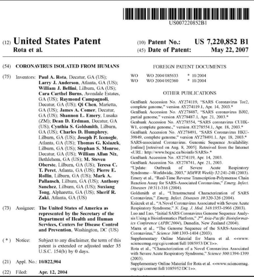Coronavirus Patent - USA 2007  Plenty of time for pharma's to have come up with anti-virals don't you think? pic.twitter.com/hYcf3OWcxZ