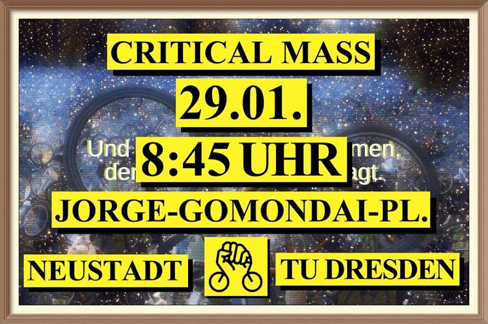 Liebe Leute, morgen steht die letzte #PendlerCM für dieses Semester an - 8:45 Uhr Jorge-Gomondai-Platz. Wir erwarten euch und sind gespannt! #GemeinsamStattEinsam #CriticalMass #Dresden @criticalmassdd   https://www.facebook.com/events/825545617910094/…pic.twitter.com/HMaN6pr1Xg