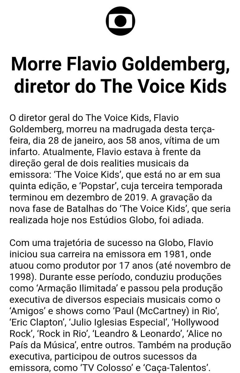 Flavio Goldemberg Diretor Do The Voice Kids Morre Aos 58 Anos