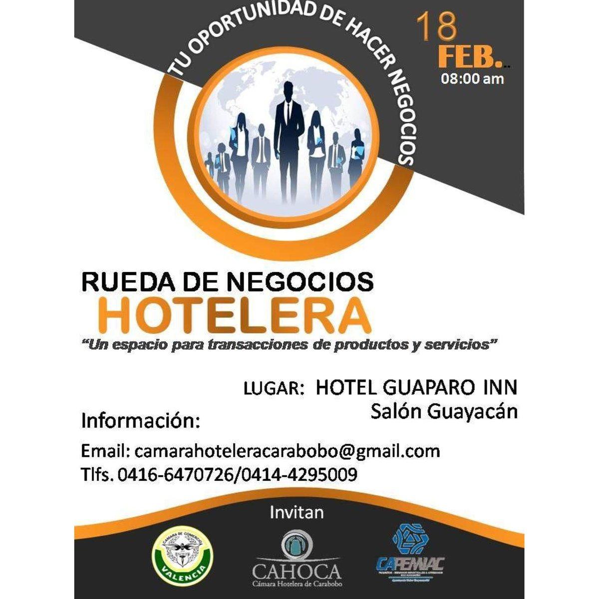 """El Hotel Emperador de invita a la """"Rueda de Negocios Hotelera""""  es tu oportunidad de hacer negocios... . Para el #18Feb desde las 8:00 AM en el Hotel Guaparo Inn - Salón Guayacán. . Inf: 0416-6470726 / 0414-4295009 ... #hotelemperadorv #eventos #valenciavzla #carabobo #venezuelapic.twitter.com/fHA9p74K4F"""