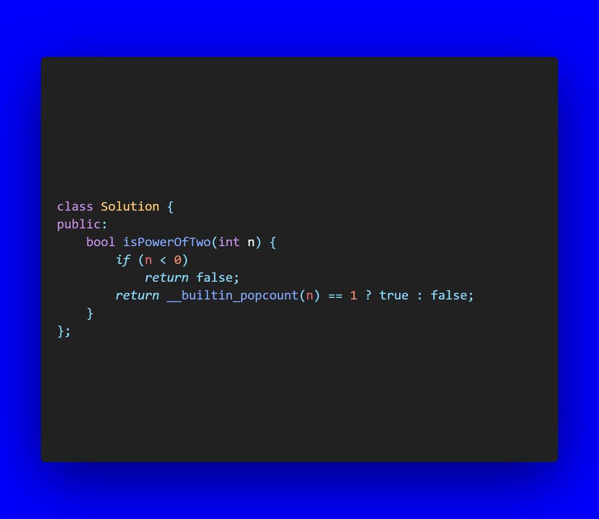 Day 88: LeetCode: 231. Power of Two  #coding #everyday #coder #codinglife #daily #myday #programminglife #programmer #screen #developer #love #100daysofcode #programming #program #365codingphasechallenge #programmer #code #codingphase #codingpicspic.twitter.com/PZqjSHfEuR
