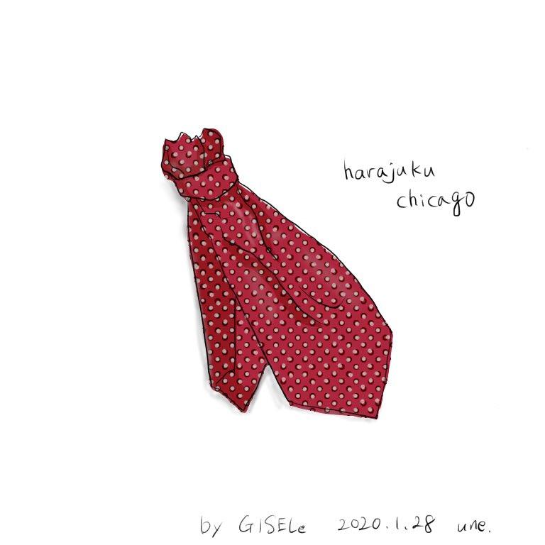 雑誌GISELeより。赤ドットのタイスカーフ。スカーフを使いこなせる人になりたい。  #イラスト #イラストレーション #ファッションイラスト #illustration #fashionillustration #原宿シカゴ #GISELe #タイスカーフpic.twitter.com/s7o5Ib3lsK
