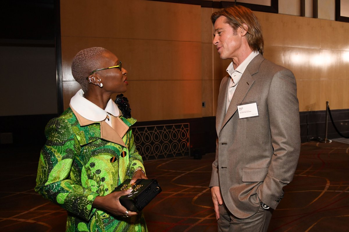 'Hi, my name is Brad Pitt, in case you didn't see the name tag.' - Brad Pitt to Cynthia Erivo