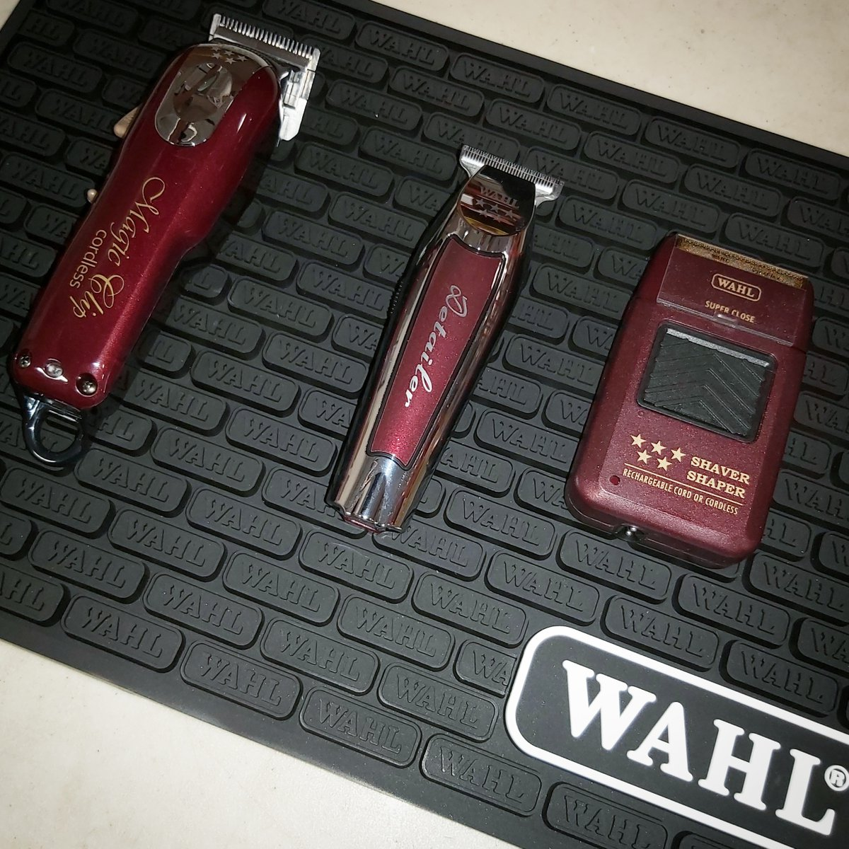 The #AllWahl trio! Featuring...  • Wahl 5 Star Cordless Magic Clip • Wahl 5 Star Cordless Detailer LI • Wahl 5 Star Shaver/Shaper  Which one is your go-to Wahl tool?   #AllWahl #WahlLove #fades #lineups #blurryfades #fadehaircut #barberworld #barbers #wahloffamepic.twitter.com/IaGQH4ETd9