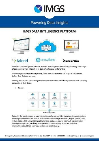 The IMGS Data Intelligence Platform provides a 360 degree data solution, delivering a full range of data services from Integration to Data Warehousing and analytics.  https://buff.ly/2GlKKJt   @Talend @SnowflakeDB @Sisense #Analytics #DataWarehouse #BusinessIntelligencepic.twitter.com/vftN4hAjXr