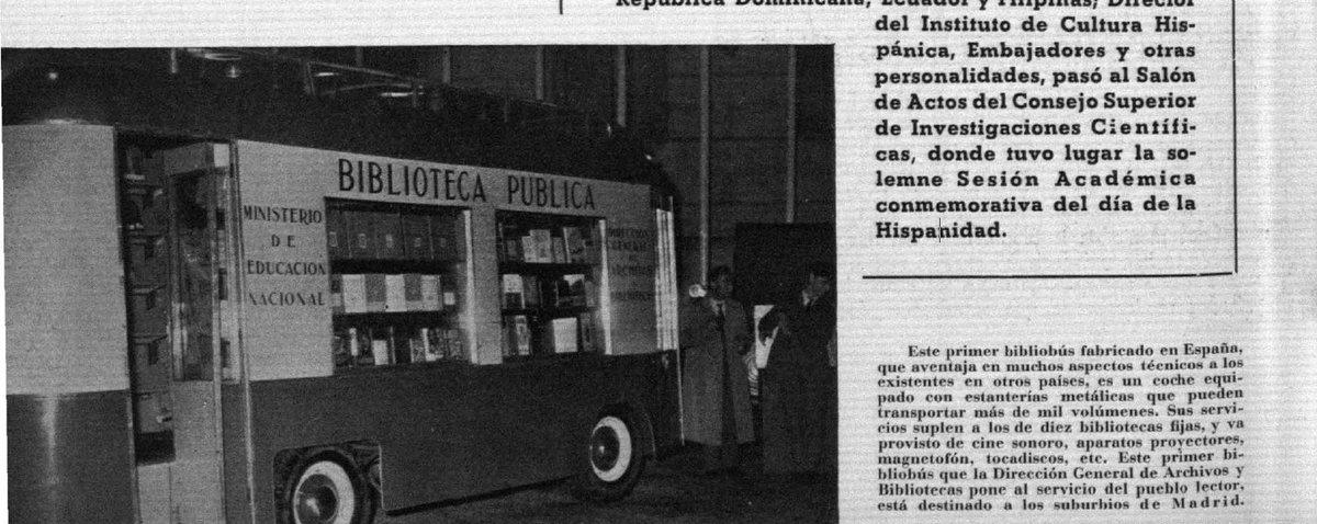 Boletín de la Dirección General de #Archivos y #Bibliotecas, Año II (1953), n.14 (sept.-oct.), p. 10: inauguración #bibliobús #12octubre 📽️#NODO @Filmoteca_es @rtve del 14 de #Diciembre 1953 sobre El bibliobus👉 #diadelbibliobus2020 #diadelbibliobus