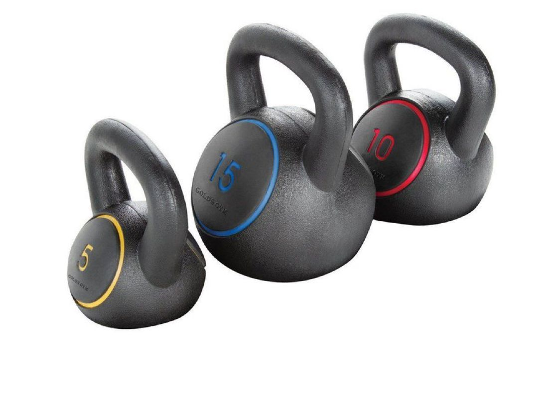 Gold's Gym Kettlebell Kit, 5 -15 Lbs. with Exercise Chart  $26.99 with Free In-Store Pickup    #steals #deals #stealsanddeals