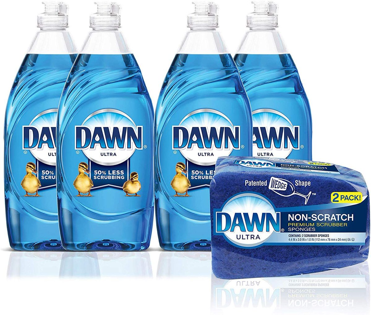 Dawn Ultra Dishwashing Liquid Dish Soap (4x19oz) + Non-Scratch Sponge (2ct)   $8.49 with Free Prime Shipping    #steals #deals #stealsanddeals